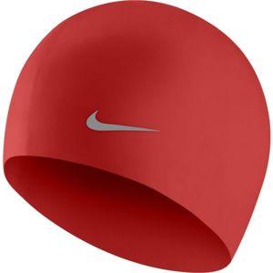 Nike SOLID SILICONE YOUTH červená NS - Dětská plavecká čepice