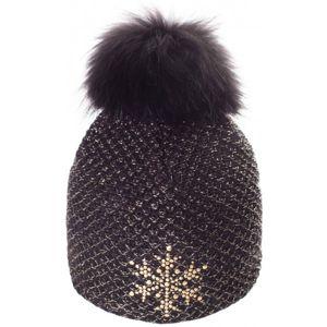 R-JET TOP FASHION EXCLUSIV ZLATÝ LUREX černá UNI - Dámská pletená čepice