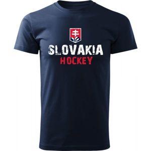 Střída NAPIS SLOVAKIA HOCKEY tmavě modrá L - Pánské triko